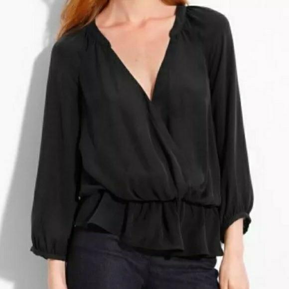 384df4131a9a8a joie Tops - Joie Louvre Faux Wrap Blouse Silk Black Peplum Top